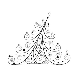 Christmas tree decoration, silhouette for your design